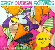 An easy cubism art project to do with your kids. All you need is card stock and some colored markers.