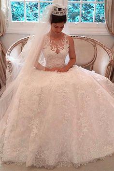 2017 Custom Elegant Lace A-Line 2016 Wedding