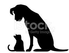 black dog white cat silhouette - Google Search