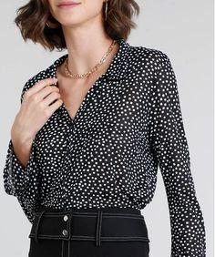 a5f60f898 Camisa Feminina Estampada Quadriculada Manga Sino Preta - cea
