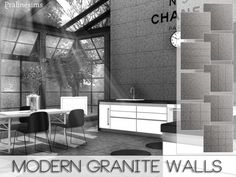 The Sims Resource: Modern Granite Walls by Pralinesims • Sims 4 Downloads