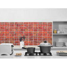 Id e cr dence cuisine briquettes rouge 309 les 3m2 - Carreaux adhesifs cuisine ...