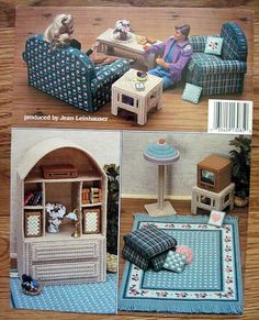 Fashion Doll Living Room in Plastic Canvas for Barbie American School of Needlework 3085.  back cover