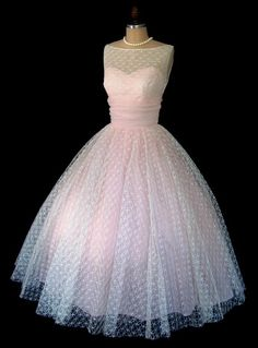 ~Polkadot Pink Prom Dress 1950s~