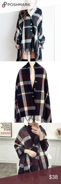 Plaid Tassel Buttoned Poncho/Shawl/Cape/Scarf Made from a soft knitted fabric, warm and comfortable to wear. Plaid print design with tassel trim, classic and stylish. Button front fastening and wide-cut wraparound style. A great accessory to your clothes in cold days. Accessories Scarves & Wraps