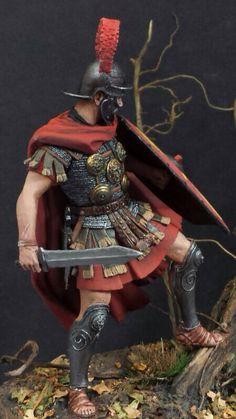 Centurión Romano en Teutoburgo. Pintura realizada por mi. Diferente plano de visión.