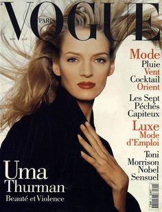 Film and the covers of Vogue Paris: Uma Thurman on the November 1994 cover of Vogue Paris