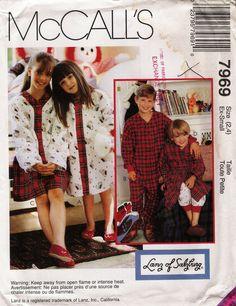 McCall's 7969 Children's/Boys'/Girls' Unisex Nightshirt Pajamas Sleepwear