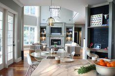Residential design. Family room. Living Room. Kitchen traditional living room