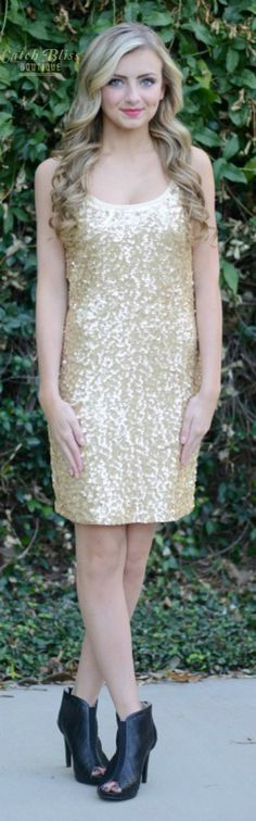 Shine with style this holiday season. Gold sequin detailing dress with lining. Perfect for the holidays and new year's eve! #NYE