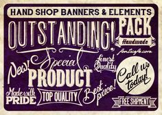 """""""Hand Shop Banners & Elements Pack"""" fonts 