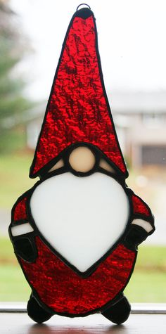 95fadc9fdd7ffb Stained Glass Gnome Suncatcher by SingularArt on Etsy