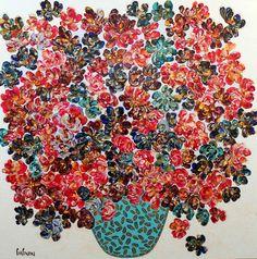 La lente maturation des fleurs - Galerie Perreault Art Abstrait, Artwork, Bullet Journal, Painting, Red, Small Bouquet, Toile, Artist, Flowers