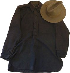 Original M1883 three button shirt and M1889 Campaign hat belonging to C.K. Foster, US Volunteers. Foster was attached to a Signal Corps Battalion and particpated in the Battle for Guayama, Puerto Rico on August 5, 1898 during the Spanish-American War.