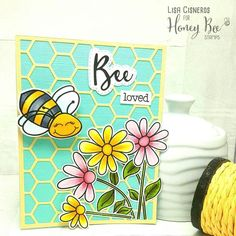 Honey Bee Stamps Build A Bee. Flowers and bees. cute card ideas. Hexagon dies.