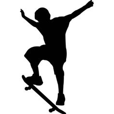 Skateboard Silhouette would look great as a backdrop for cake Kids Room Wall Decals, Wall Stickers Murals, Kids Silhouette, Silhouette Cameo, Skateboard Party, Skateboard Room, Boy Birthday, Birthday Cards, Skate Party