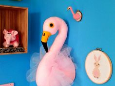 Flamingo Head. Felicity the Flamingo wall head. Faux taxidermy. Pink Flamingo with tulle. Kids room decor. Made to order.