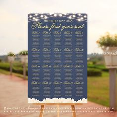 Navy Blue and Gold Wedding Seating Chart, Peony Flowers String Lights Wedding Seating Arrangement Poster, White Flowers Garden Wedding Seating Plan Chart by Soumya's Invitations