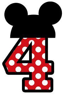 Números para montagens digitais tema Minnie e Mickey - Cantinho do blog Layouts…
