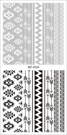 $2.00 2 Patterns/Sheet Tribal Nail Art Water Decals Aztec Transfer Sticker BORN PRETTY BP-W26 - BornPrettyStore.com