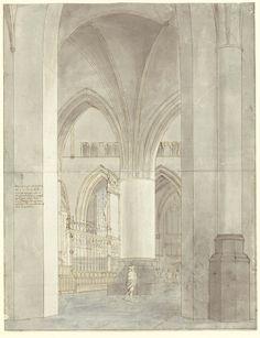 Pieter Saenredam (1597–1665), Le Chœur de l'église Saint-Bavon à Haarlem, 1636. Plume et encre brune, encre grise à la pointe du pinceau, lavis gris, 480 x 370 mm © Noord-Hollands Archief, Kennemer Atlas, Haarlem, inv. 53−001702 g