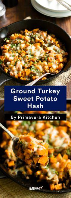5. Ground Turkey Sweet Potato Hash #healthy #sweetpotato #hash #recipes http://greatist.com/eat/sweet-potato-hash-recipes-for-breakfast-or-dinner