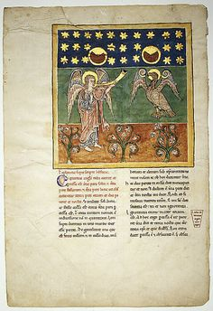 Leaf from a Beatus Manuscript: the Fourth Angel Sounds the Trumpet and an Eagle Cries Woe, ca. 1180. Spanish. The Metropolitan Museum of Art, New York. Purchase, The Cloisters Collection, Rogers and Harris Brisbane Dick Funds, and Joseph Pulitzer Bequest, 1991 (1991.232.9) | Illustrated Beatus manuscripts are unique to medieval Spain and a testament to the pervasive artistry and intellectual milieu of monastic culture there. #Cloisters