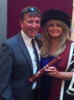 Bonnie and her brother Paul Hopkins  #thequeenbonnietyler #therockingqueen #rockingqueen #2013 #wales #swansea #swanseauniversity #honorarydegree #paulhopkins #music #rock