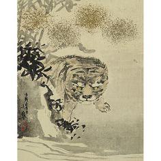 """ESCUELA JAPONESA SIGLO XX  REFERENCIA:  3352-19  """"El tigre"""".  Firmado con caracteres japoneses.  Pintura / tela.  Medidas: 22 x 18 cm."""