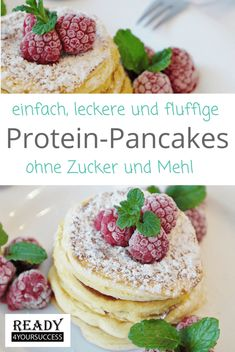 Protein-Pancakes - eating breakfast eating dinner eating for beginners eating for weight loss eating grocery list eating on a budget eating plan eating recipes eating snacks Low Carb Desserts, Healthy Dessert Recipes, Low Carb Recipes, Breakfast Recipes, Protein Recipes, Snacks Recipes, Paleo Breakfast, Healthy Protein Snacks, Healthy Smoothies
