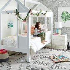 House White Twin Bed Crate and Barrel (Kids) Tiny House Bed House Beds For Kids, Toddler House Bed, Kid Beds, Pastel Room, Girl Room, Girl Nursery, Room Baby, Bed Frame, Decoration