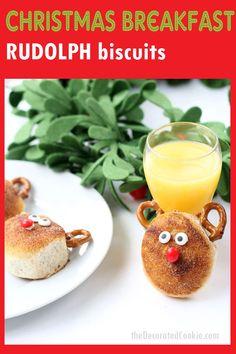 RUDOLPH BISCUITS Christmas breakfast -- Cinnamon sugar Rudolph biscuits use store-bought biscuits for an easy Christmas fun food idea. Creative Christmas Food, Christmas Treats, Christmas Fun, Christmas Goodies, Xmas, Best Dessert Recipes, Delicious Desserts, Breakfast Recipes, Fun Recipes