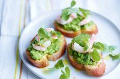 Pea and prawn crostini recipe - goodtoknow