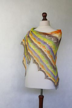 SALESALESALE Multicolor shawl hand knit shawl by KnitwearFactory, $55.00