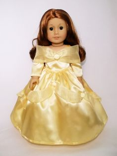 """Disney Princess Belle dress for American Girl doll and 18"""" Dolls."""