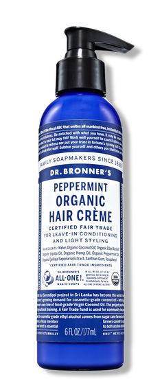 Applied like a leave-in conditioner, Dr. Bronner's Peppermint Organic Hair Crème ensures hair will remain frizz free until your next shampoo.   - ELLE.com