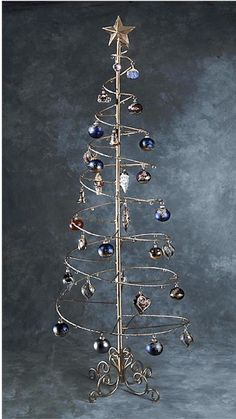 christmas ornament display metal ornament tree wire ornaments ornament display tree spiral christmas - Metal Christmas Tree Ornament Display