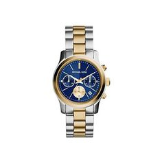 Michael Kors Runway Chronograph Blue Dial Two-tone Ladies Watch (855 CNY) ❤ liked on Polyvore featuring jewelry, watches, water resistant watches, stainless steel watches, blue dial watches, blue watches and michael kors bracelet