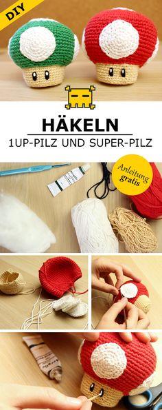 Super-Mario-Pilz häkeln - DIY by Pfirsichteufel | Amigurumi | Super Mario | gratis Häkelanleitung