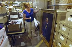 Illinois State University archivist April Anderson found a pre-Civil War portrait of the first ISU president, Charles Hovey, in the archives, Thursday, July 5, 2012