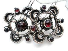 Garnet Earrings Sterling Silver Vintage by TheJewelryLadysStore