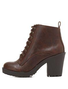 Chunky Heel Lug Sole Combat Booties#charlotterusse #charlottelook