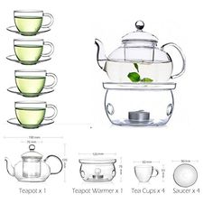 TAMUME Classic Style Blooming Glass Tea Set Including 1 Teapot and 1 Tea Warmer with 4 Cups and 4 Saucers: Amazon.co.uk: Kitchen & Home