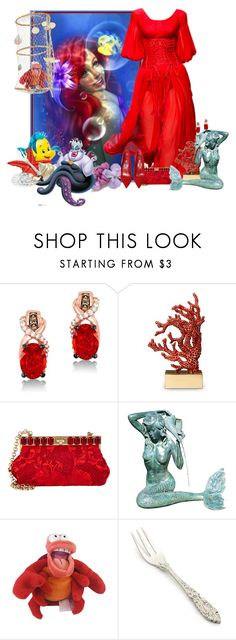 """the little Mermaid"" by frane-x ❤ liked on Polyvore featuring Disney, Dolce&Gabbana, LeVian, L'Objet, Manolo Blahnik, Fountain and Sur La Table"