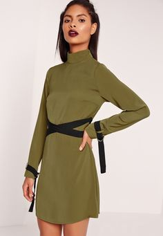 Missguided - High Neck Tie Waist Belted Dress Khaki