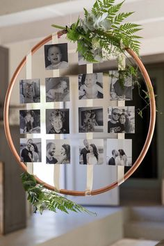 Hanging Copper Hoop Photo Wall    #aislesociety #wedding #weddingphotos #weddingideas