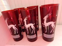 Art Deco Ruby Red Cranberry Glass Gazelle by GlitteringDragonfly Red Glass, Pint Glass, Cranberry Glass, Holiday Tables, Large White, Ruby Red, Pyrex, Drinking, Art Deco