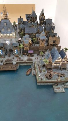 Providence - Medieval City Port Miniature - by Chris Da Silva Best Picture For Tabletop Games wedding For Your Taste You are looking for something, and it is going to tell you exactly what you are loo Fantasy Town, Fantasy House, Medieval Fantasy, Medieval Houses, Medieval Town, Minecraft Designs, Minecraft Houses, Planet Coaster, Minecraft Medieval