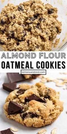 Almond Flour Desserts, Almond Flour Cakes, Almond Meal Cookies, Baking With Almond Flour, Almond Flour Cookie Recipe, Brownies With Almond Flour, Cookies With Oats, Simple Oatmeal Cookies, Chewy Oatmeal Cookies