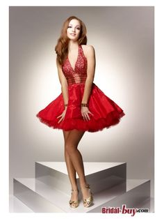 Buy Custom Made High Quality Ball Gown Sexy Halter Low Back Paillette Short/Mini Red Cocktail Dresses/Homecoming Dresses Under$125 HD20480 at wholesale cheap prices from Bridal-Buy.com
